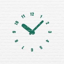 Time concept: Painted green Clock icon on White Brick wall background
