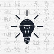 Finance concept: Painted black Light Bulb icon on White Brick wall background with Scheme Of Hand Drawn Business Icons